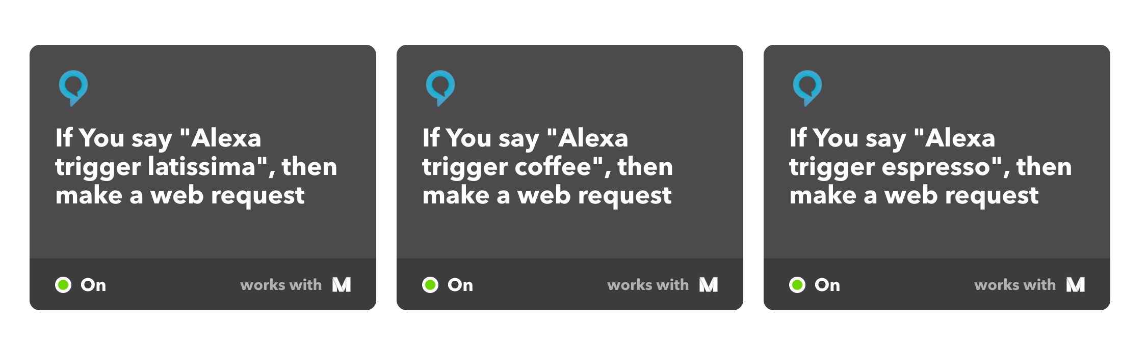 Screenshot of all Alexa IFTTT Skills