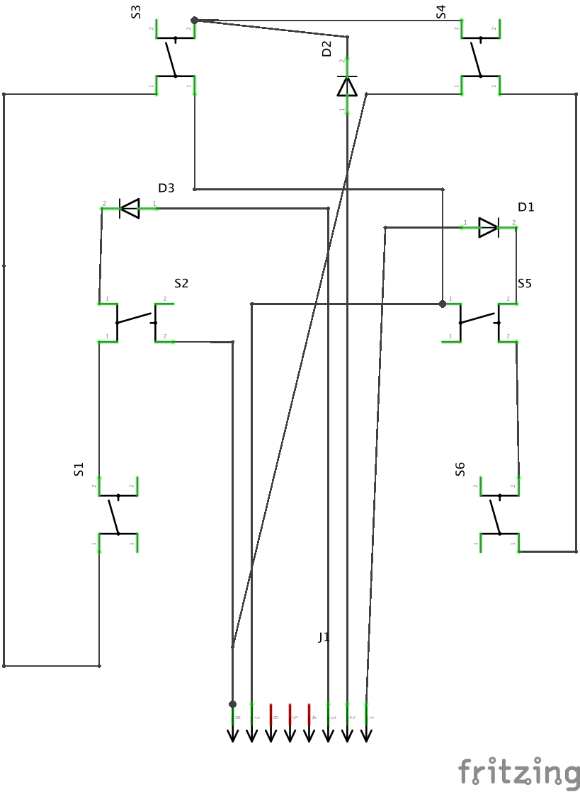 Schema of circuit with Diodes and Switches